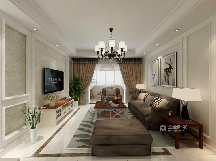 典雅大气的欧式风婚房-客厅效果图及设计说明