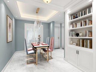 115平浅蓝色自然系美式混搭美家-四季金辉小区115平米2室美式装修案例