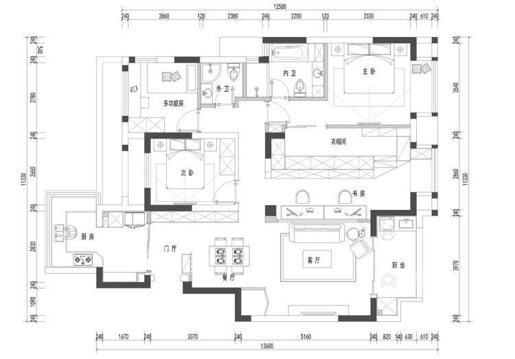 120平现代混搭之美-平面设计图及设计说明