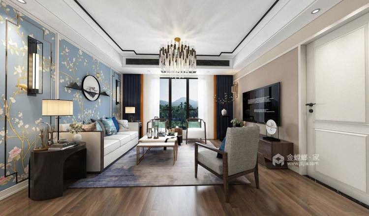 230平新中式复式大宅-客厅效果图及设计说明