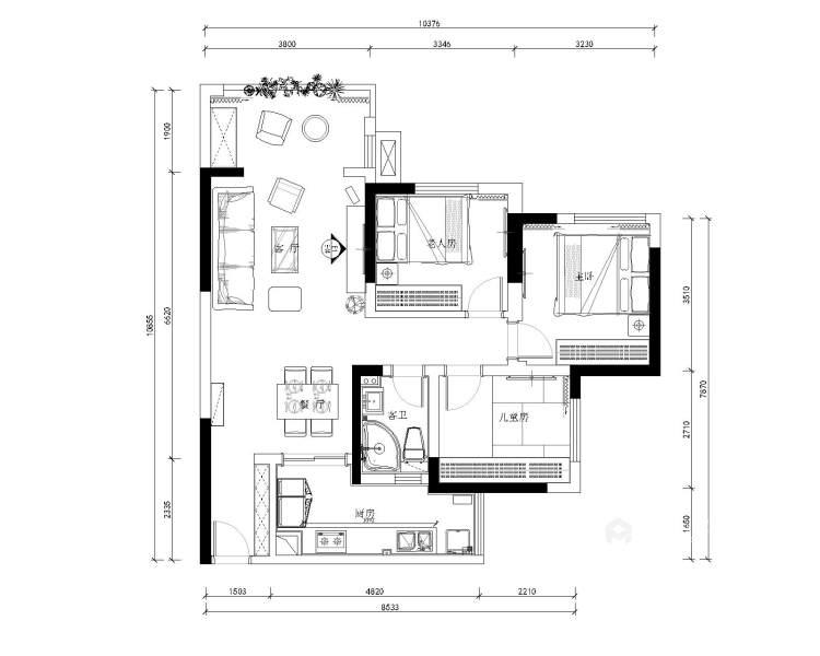 干净利落的风格,展现出不同空间的不同性格的美-平面设计图及设计说明