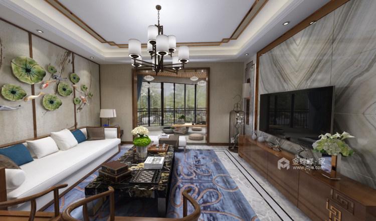 山水水墨入墙来,美轮美奂把家居-客厅效果图及设计说明