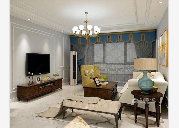 简约而不失温馨,撞色营造居家氛围-客厅效果图及设计说明
