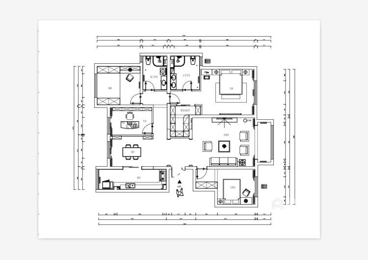 简约而不失温馨,撞色营造居家氛围-平面设计图及设计说明