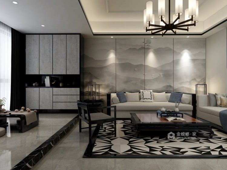 在新中式的典雅清新中,三代同堂共享天伦之乐-客厅效果图及设计说明