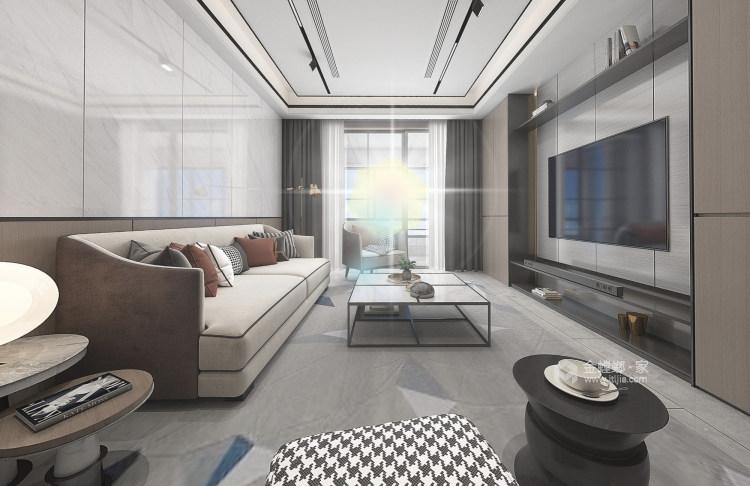简约线条勾勒大气灰调现代风-客厅效果图及设计说明