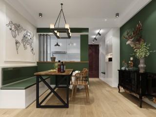 绿色点缀出的别样美式复古风-领航城领秀小区90平米3室美式装修案例