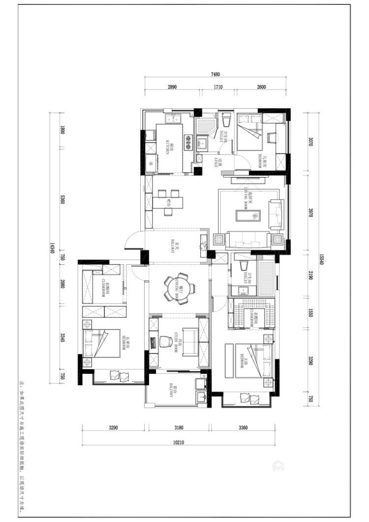 148㎡现代轻奢风的三口之家-业主需求&原始结构图