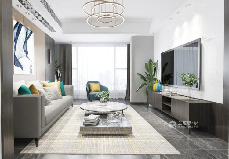 清新素雅现代风-客厅效果图及设计说明