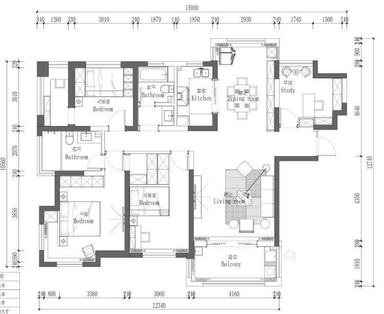 140平轻奢美式空间-平面布置图