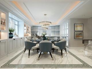 创新蓝色海洋系简欧风-龙山庄园山语墅小区232.5平米别墅欧式装修案例