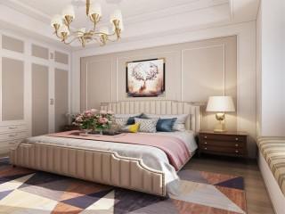 美式轻奢风的温馨之家-花径美邻小区133平米3室美式装修案例