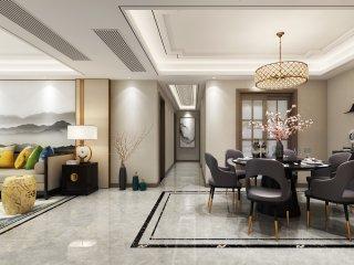 唯美典雅新中式大宅-奥华府小区152平米4室新中式装修案例
