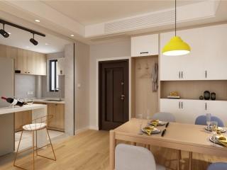超流行的网红ins原木风-保利悦玺小区95平米3室北欧装修案例