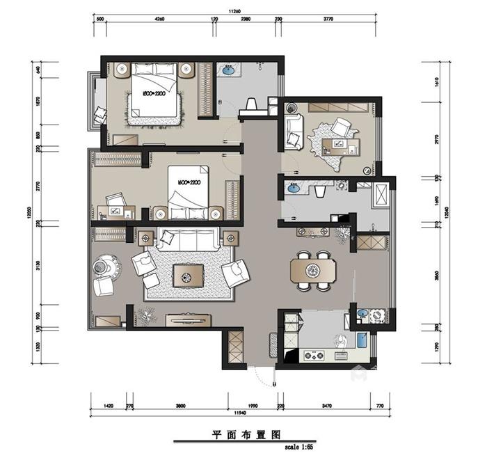 138平米的田园美式家,浪漫与古典并存-平面布置图
