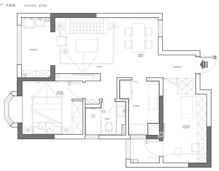 74平米的二手房这么一改造,颜控都心动了-平面布置图