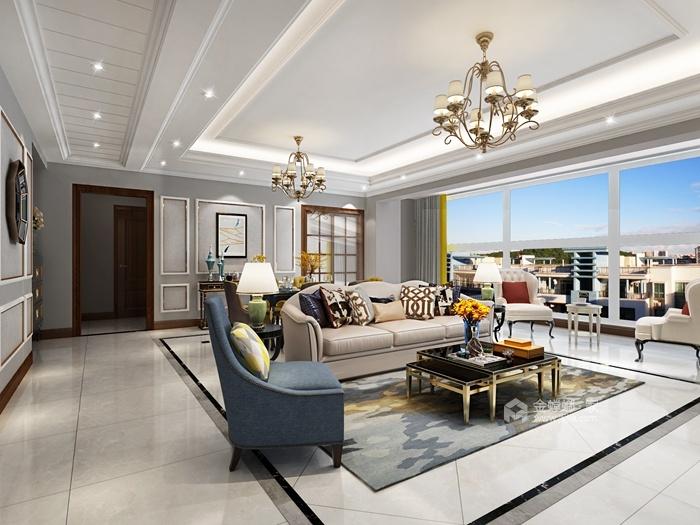 202平米的品质美式家,三代同堂才更有爱-客厅