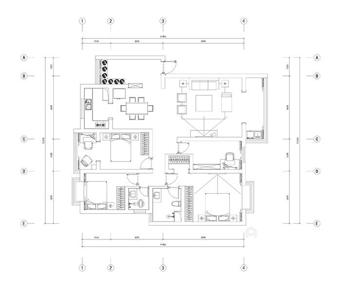 新中式风格的现代生活家-平面布置图
