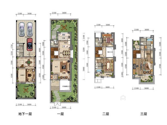 传统与现代的完美融合,350㎡新中式大宅-平面布置图