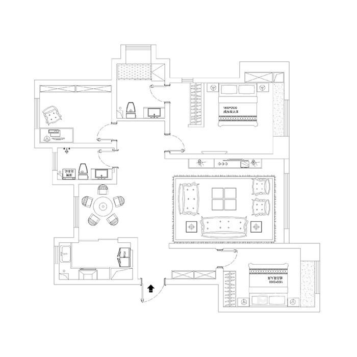 126平现代风格,工业风与精致生活家-平面布置图