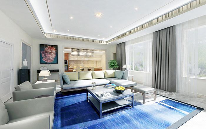 传统与现代的完美融合,350㎡新中式大宅-客厅
