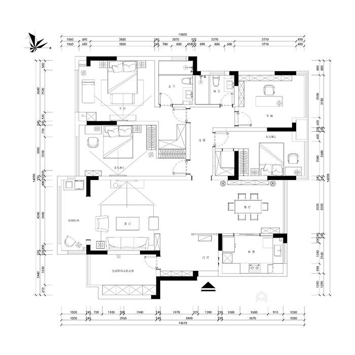 165㎡新中式风格家,高级灰美出了新高度-平面布置图