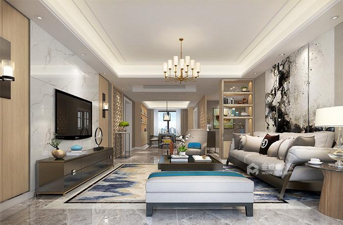 165㎡新中式风格家,高级灰美出了新高度-客厅