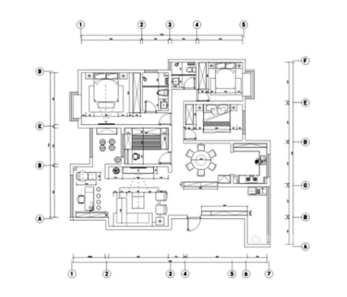 米色系理想生活之家-平面布置图