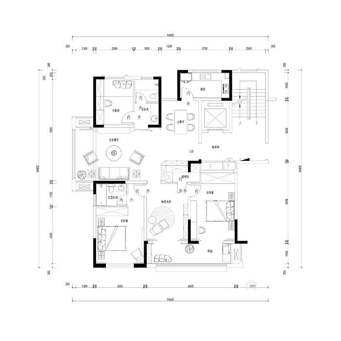华美而精致的三口之家-平面布置图