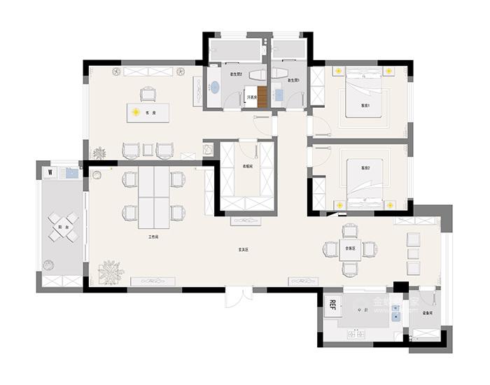 146平米新中式特有的禅意与灵境的质感-平面布置图