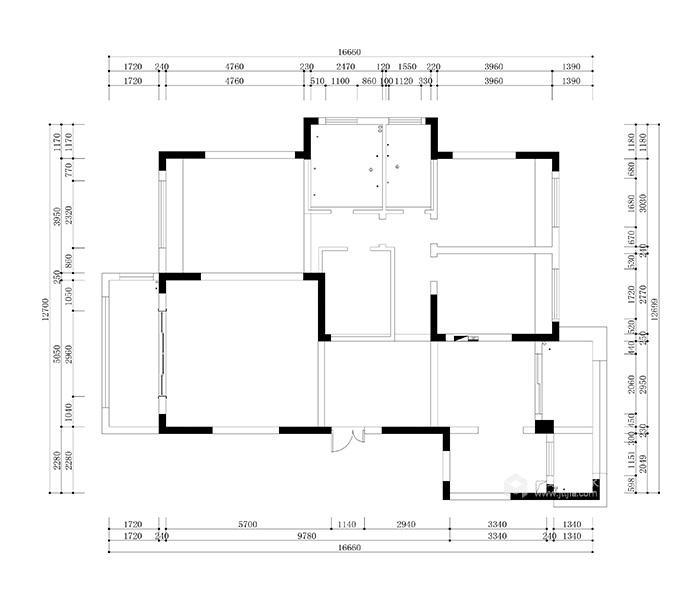 146平米新中式特有的禅意与灵境的质感-原始结构图