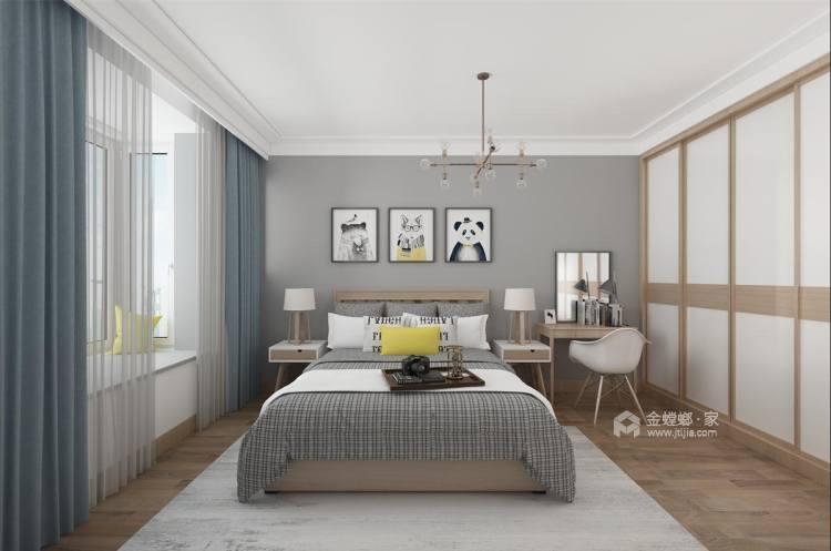 清新色调的碰撞,95平暖意北欧风-卧室效果图及设计说明