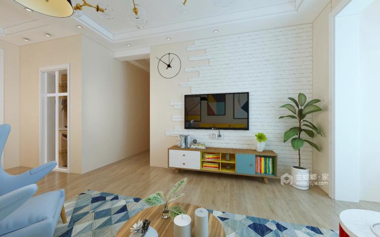 清新色调的碰撞,95平暖意北欧风-客厅效果图及设计说明