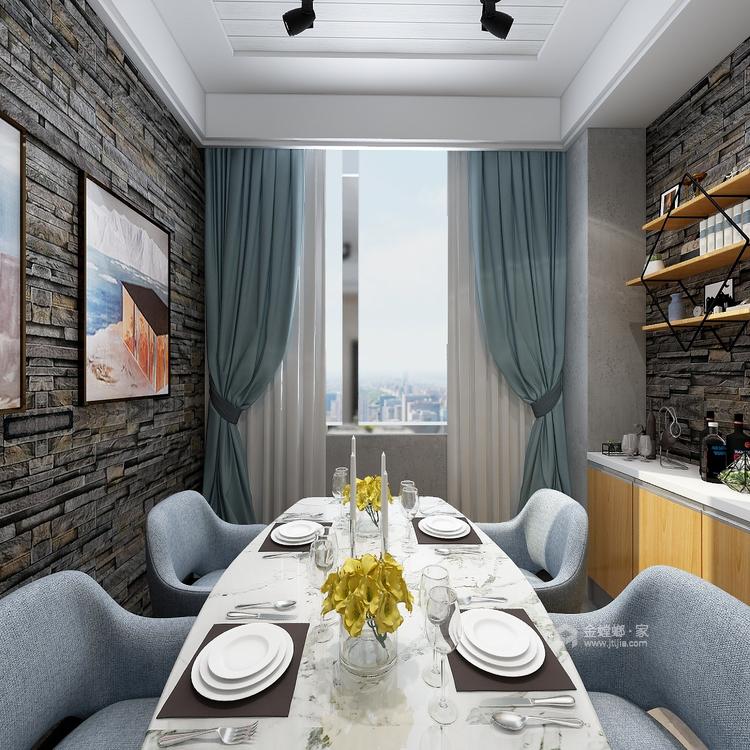 工业风气息,灰色质感161平现代风格-餐厅效果图及设计说明