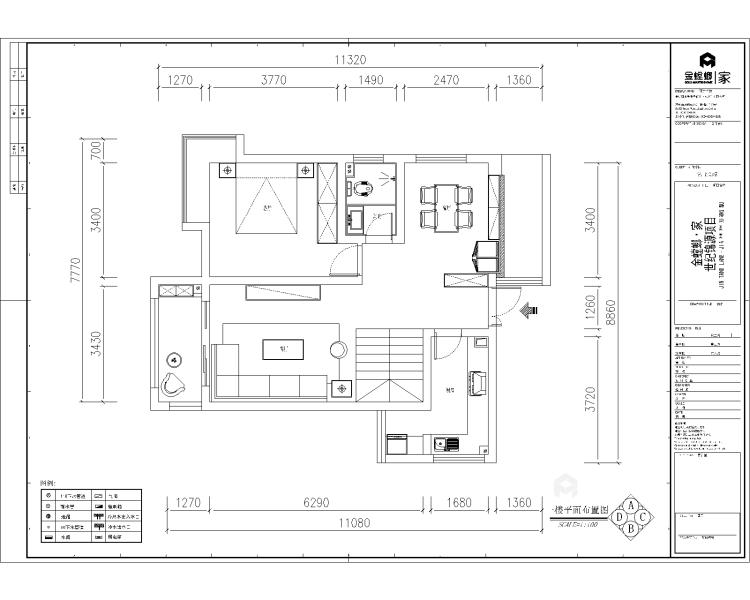 工业风气息,灰色质感161平现代风格-平面设计图及设计说明