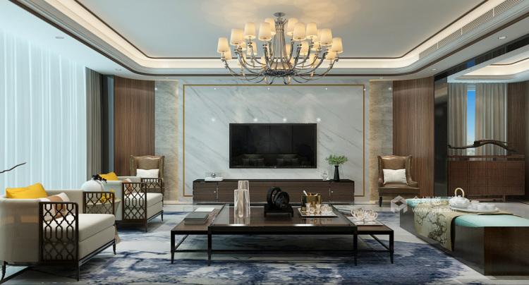 225平大气新中式,古韵之美!-客厅效果图及设计说明
