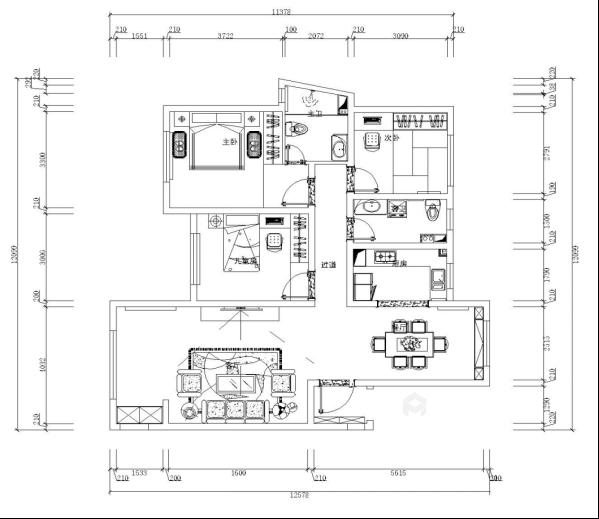 125平现代风格美居,造型干净简洁-平面设计图及设计说明