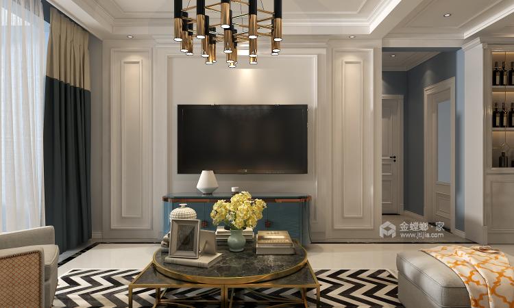 高级灰蓝色打造131平简约美式风格-客厅效果图及设计说明