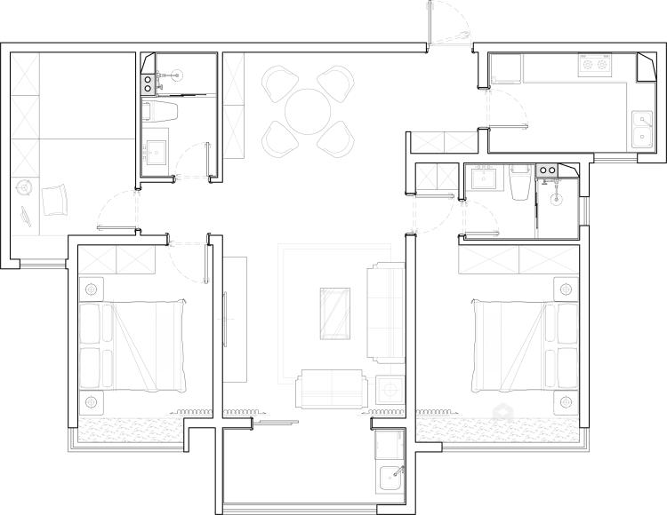 高级灰蓝色打造131平简约美式风格-平面设计图及设计说明