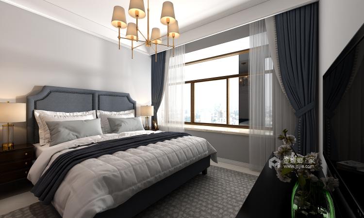 高级灰蓝色打造131平简约美式风格-卧室效果图及设计说明