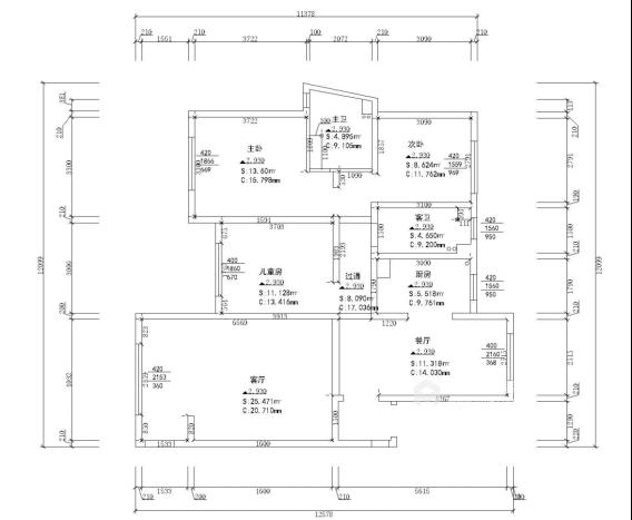 125平现代风格美居,造型干净简洁-业主需求&原始结构图