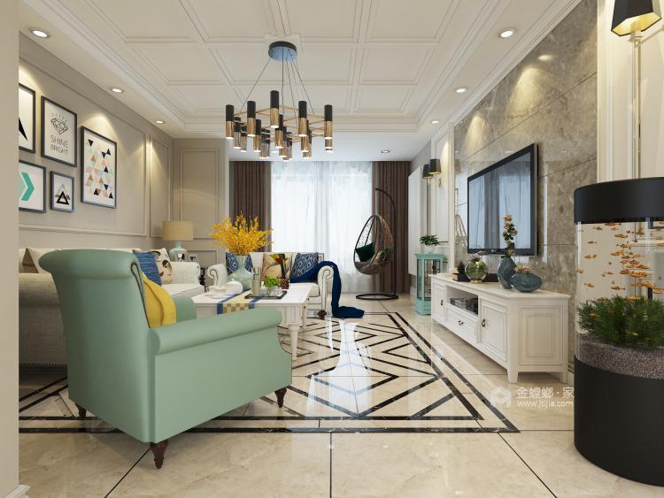 125平现代风格美居,造型干净简洁-客厅效果图及设计说明