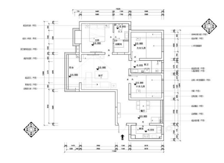 128平新中式空間透亮,溫潤如玉,沉穩之美!-平面設計圖及設計說明