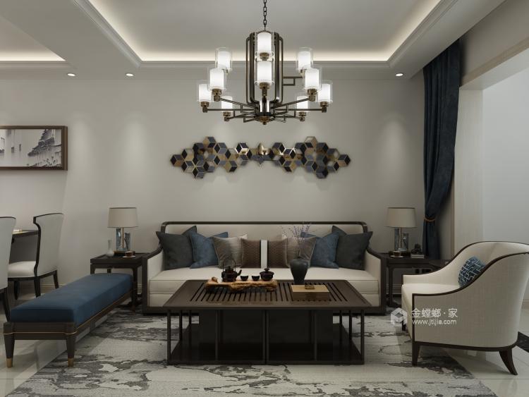 这套简约新中式,只为给自己一个自在的家-客厅效果图及设计说明