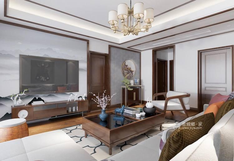 128平新中式空間透亮,溫潤如玉,沉穩之美!-客廳效果圖及設計說明