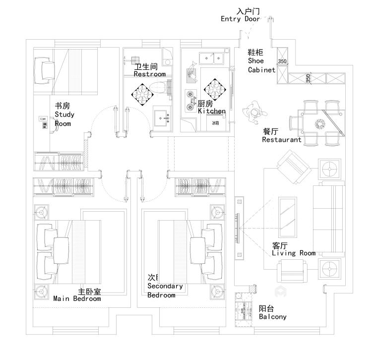 这套简约新中式,只为给自己一个自在的家-平面设计图及设计说明