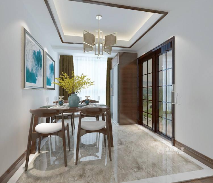128平新中式空间透亮,温润如玉,沉稳之美!-餐厅效果图及设计说明