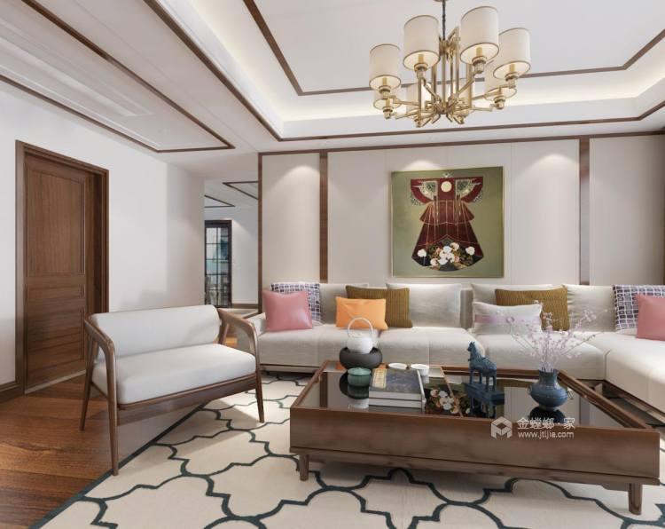 128平新中式空间透亮,温润如玉,沉稳之美!-客厅效果图及设计说明