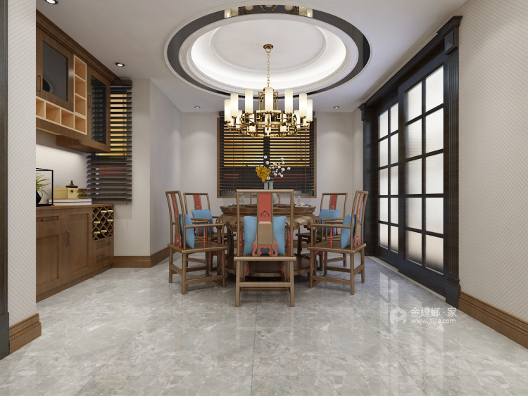 给爸妈新中式的家-餐厅效果图及设计说明
