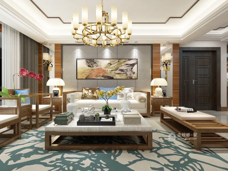 给爸妈新中式的家-客厅效果图及设计说明